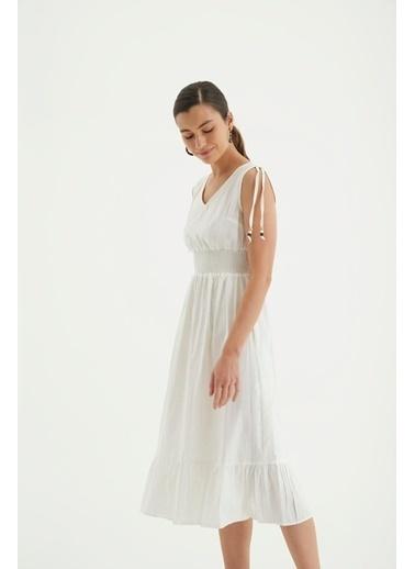 Reyon Askılı Bel Büzgülü Keten Günlük Elbise Haki Beyaz